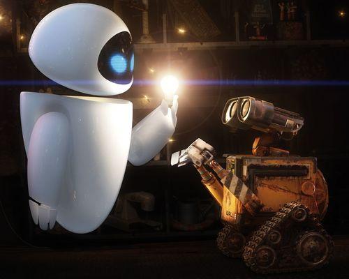 Eva ilumina a Wall-E
